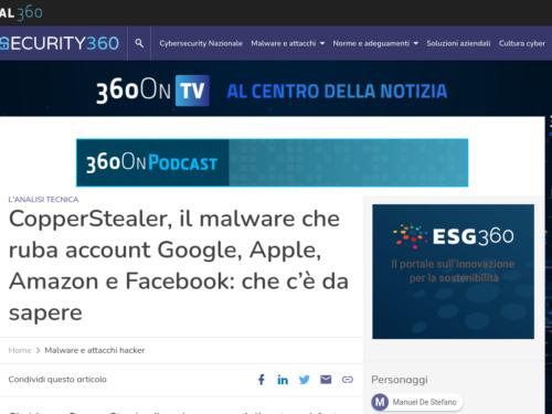 CopperStealer, il malware che ruba account Google, Apple, Amazon e Facebook